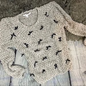 Lauren Conrad Boucle BOW embellished sweater XS
